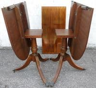Mahogany Twin Pillar Extending Dining Table to Seat Eight